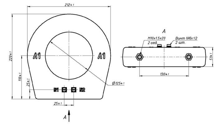 Габаритные, установочные, присоединительные размеры ТЗЛУ-125-1