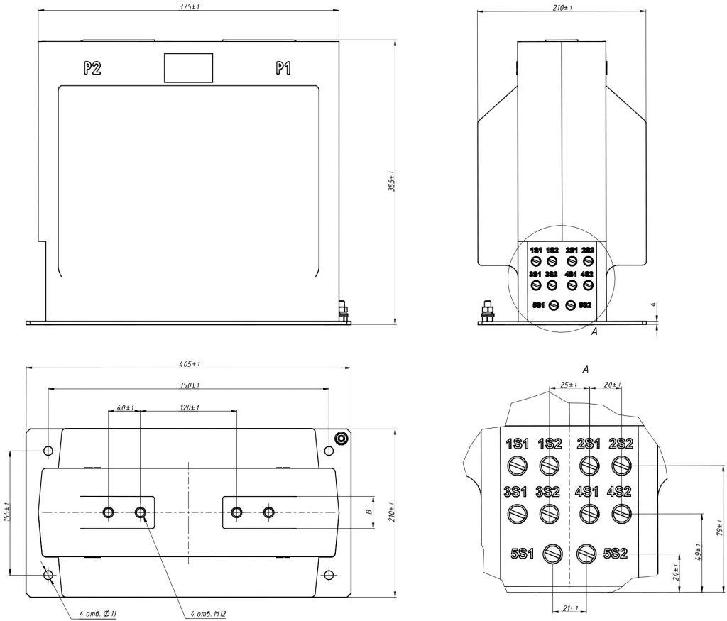 Габаритный чертеж ТОЛУ-36 5- обмоточный