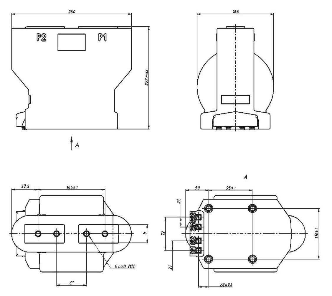 Габаритный чертеж  трансформатора тока ТОЛУ-10-1