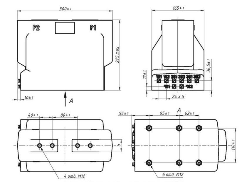 габаритный чертеж трансформатора тока ТОЛУ-24