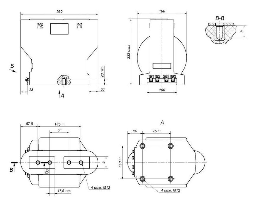 Габаритный чертеж трансформатора тока ТОЛУ-10